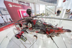 Miniature helicopter mi-28ne on exhibition Stock Photo
