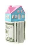 Miniature House and Bank Notes Royalty Free Stock Photos