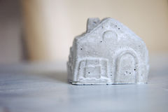 A miniature house of concrete. With copy space Stock Photography