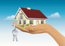 Miniature house on hand with keys. Vector illustration of miniature house on hand with keys on the blue sky background Stock Photos