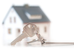 Miniature house with keys Stock Photos