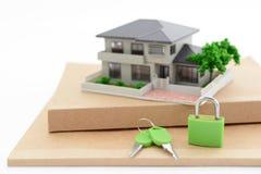 Miniature house. Padlock and key on the desk stock photos