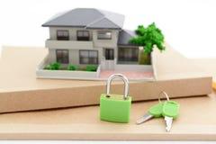 Miniature house. Padlock and key on the desk royalty free stock photo