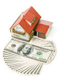 Miniature House and Money. Royalty Free Stock Photography