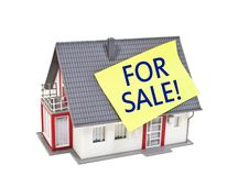 Miniature house with post on the roof with for sale vector illustration