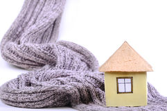 Miniature house and scarf Royalty Free Stock Image