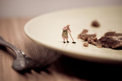 Miniature housewife washing dirty dish. Macro photo Royalty Free Stock Photography