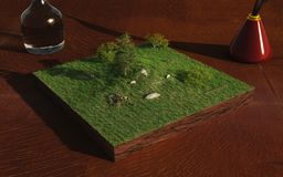 Miniature Landscape. With sheep and fields on a table top, 3d digitally rendered illustration Stock Image