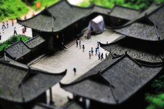 Miniature landscape of historic house Stock Photos