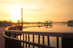 Miniature like Sunrise behind a pier Royalty Free Stock Photo
