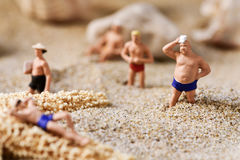 Miniature men in swimsuit on the beach. Some different miniature men wearing swimsuit relaxing next to some seashells and a starfish on the sand of the beach royalty free stock image