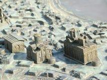 Miniature metal map of the city Nessebar Stock Photo