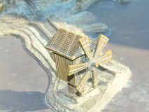 Miniature metal map of the city Nessebar Stock Image