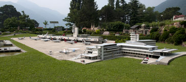 Miniature model (airport) in mini park Royalty Free Stock Images