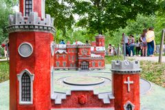Moscow, Russia 06/12/2019: Miniature of old red brick castle and tower royalty free stock images