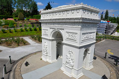 Miniature model of Arc de Triomphe. In Mini Europe in Brussels, Belgium Stock Images