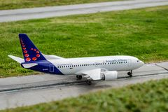 The miniature model of Brussels Airlines royalty free stock photography