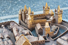 Miniature model of the castle in Koszeg, Hungary. Miniature bronze model of the castle in the medieval town of Koszeg, Hungary royalty free stock image
