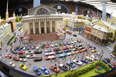 A miniature model of the city of St. Petersburg with cars Royalty Free Stock Photo
