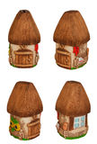 Miniature model country home (piggy bank). Set. Stock Photos