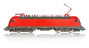 Miniature model of electric locomotive Stock Photography