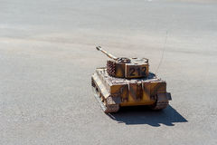 Miniature model of the German heavy tank Tiger , a the Second World War, on the pavement, Stock Images