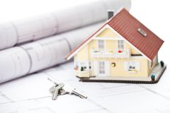 Miniature model home and keys Stock Images