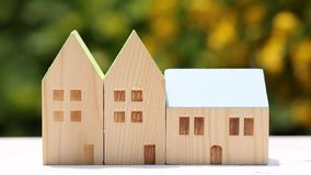 Miniature model of house with flower stock footage