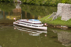Miniature model (ship) in mini park Royalty Free Stock Image