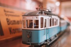Miniature models of the bus. And tram at the museum in Germany royalty free stock images