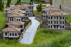 Miniature house models and varieties of local houses. Miniature models of historical houses and architectural structure royalty free stock photography