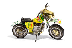 Miniature Motorcycle Model on White Background Royalty Free Stock Photos