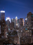 Miniature New York. A tilt shift of some of the key buildings in the NYC skyline.  Generating a miniature effect Royalty Free Stock Photo