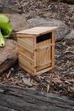 Miniature outhouse. A miniature outhouse made from recycled pallet wood Royalty Free Stock Photos