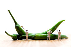 Miniature painters coloring green chilli peppers. Macro photo Royalty Free Stock Photos