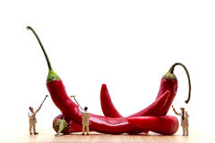 Miniature painters coloring red chilli peppers. Macro photo Stock Image