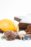 Miniature pastry chefs and cocoa Stock Photography