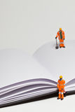 Miniature people in action worker on an open book Stock Photo