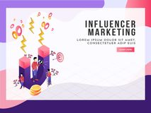 Miniature people as buyer and shopper holding megaphone and magnet attract potential buyers, isometric concept for Influencer Mar. Keting vector illustration