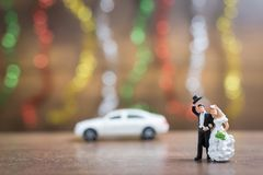 Miniature people bride and groom  on wooden floor with colorful Royalty Free Stock Photo