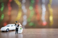 Miniature people bride and groom  on wooden floor with colorful Stock Photography