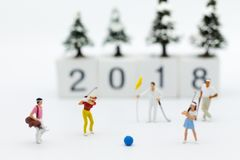 Miniature people : Businessmen spend their free time for Golf activities. Image use for sport, hobbies concept.  Stock Photo