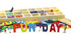 Miniature people : Children and friend funny and enjoy together using for concept of Fun day stock image
