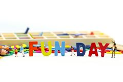 Miniature people : Children and friend funny and enjoy together using for concept of Fun day.  stock photos