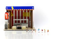 Miniature people : Children and student with Cafe, restaurant, i royalty free stock photography