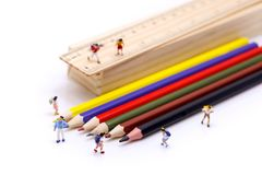 Miniature people : children and student  with stationary,educati. On concept Stock Photo