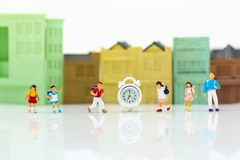 Miniature people : Children,students with school. Image use for back to school, education concept.  Royalty Free Stock Image