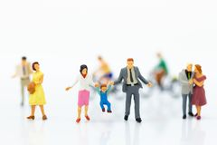 Miniature people : Couple of love and family. Image use for spending time with family.  stock photos