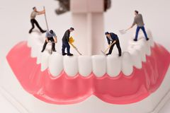 Miniature people and dental model Royalty Free Stock Image