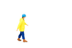 Miniature people engineer worker construction on white backgroun Stock Images